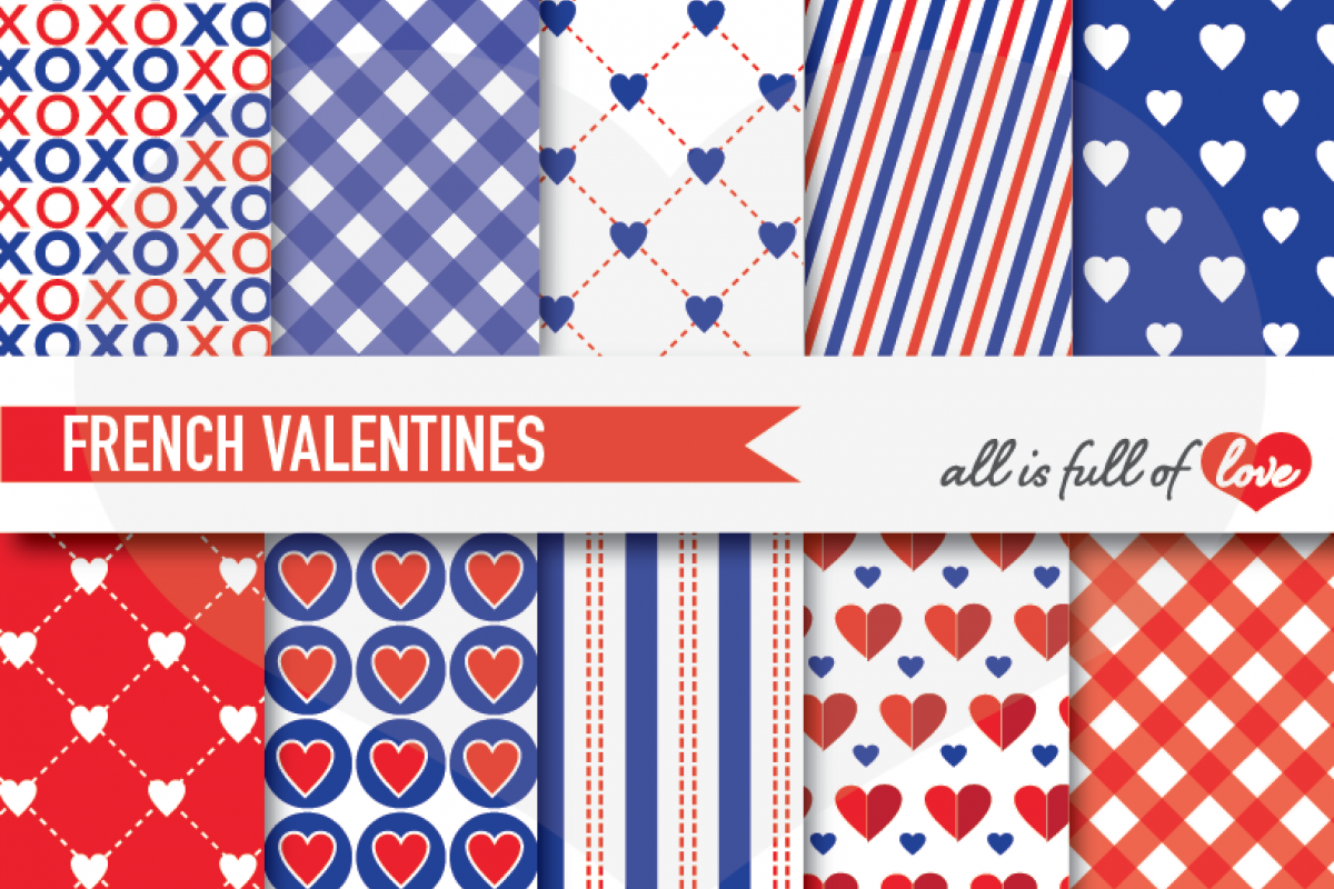 Red and Navy Blue Valentines Day Patterns French Love Digital Paper Pack example image 1