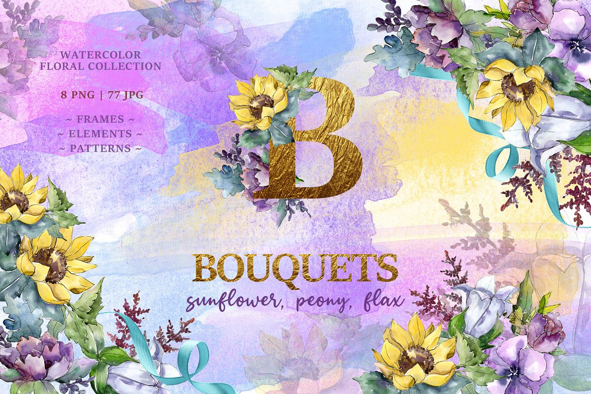Bouquets peony, flax Watercolor png example image 1