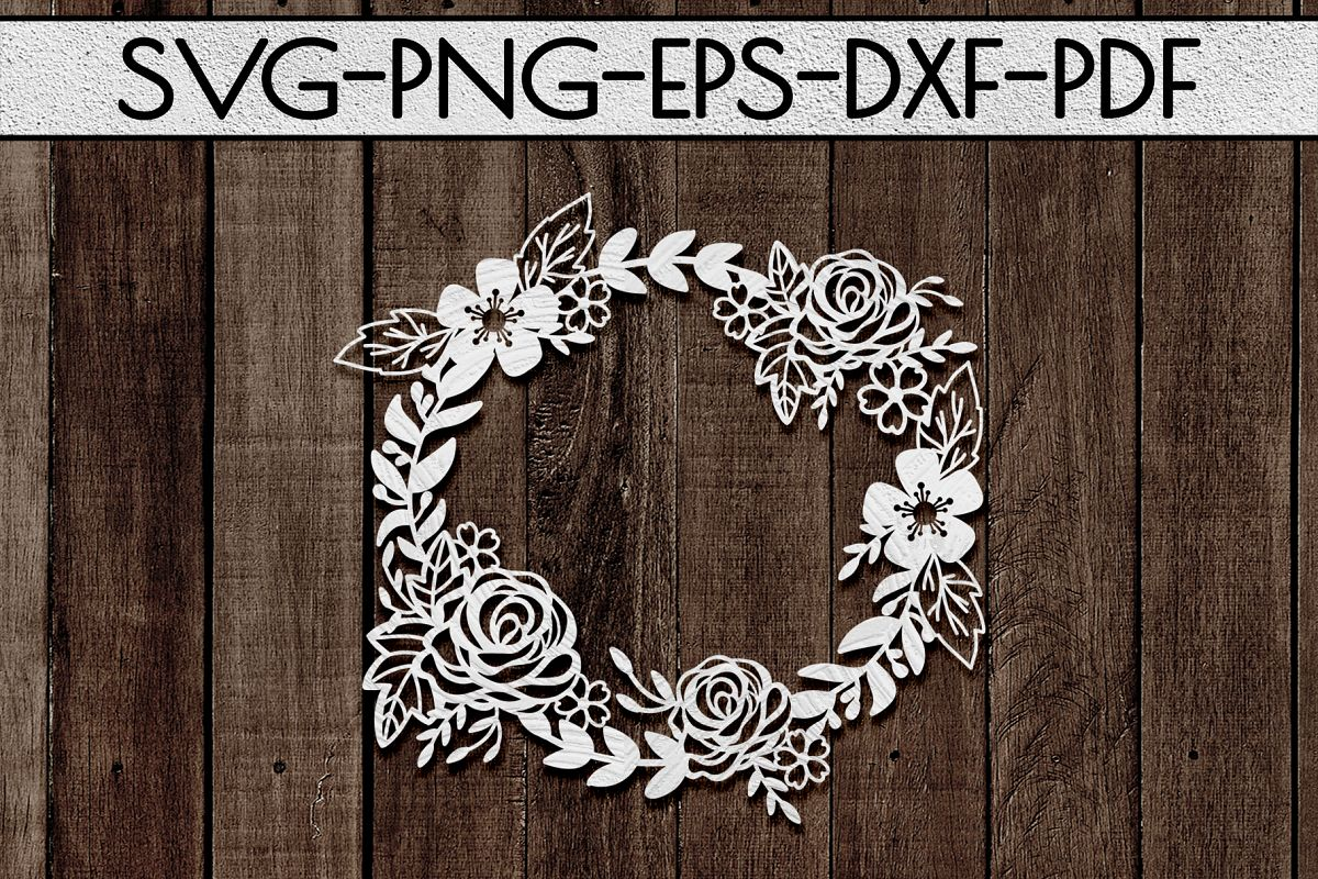 Floral Wreath Papercut Template, Spring Design SVG, PDF, DXF example image 1