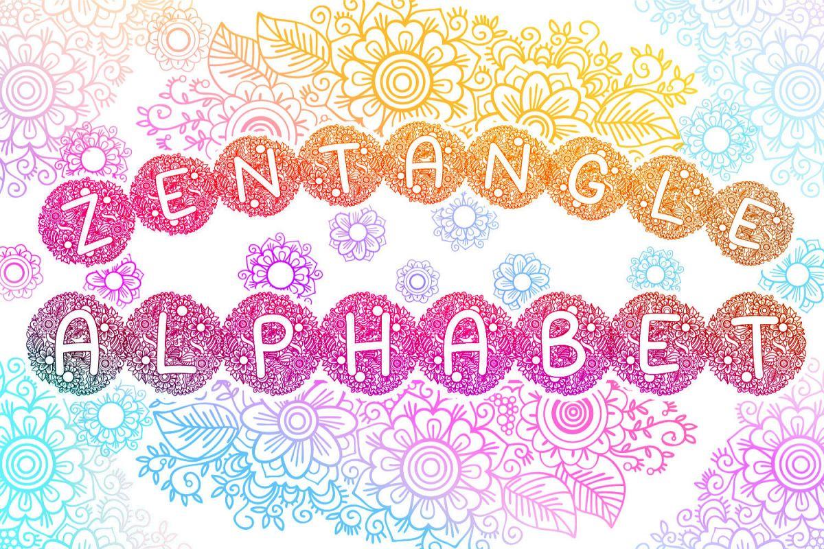 Zentangle Spring Alphabet SVG cut files example image 1