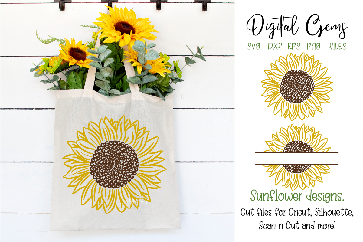 Sunflower designs SVG / PNG / EPS / DXF Files example image 1