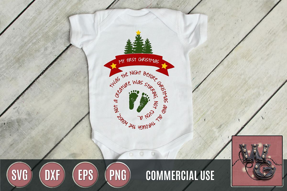 My First Christmas SVG DXF PNG EPS Comm example image 1