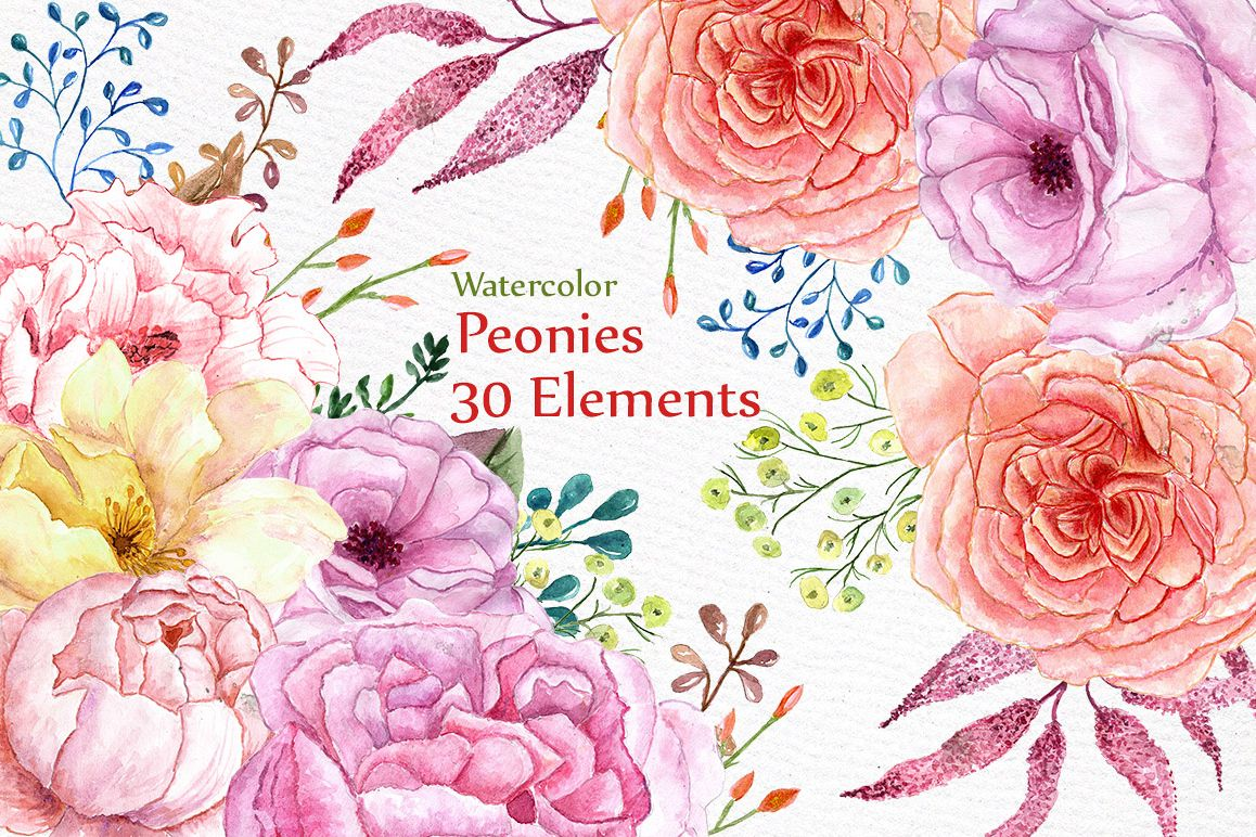 Watercolor wedding flowers clipart example image 1