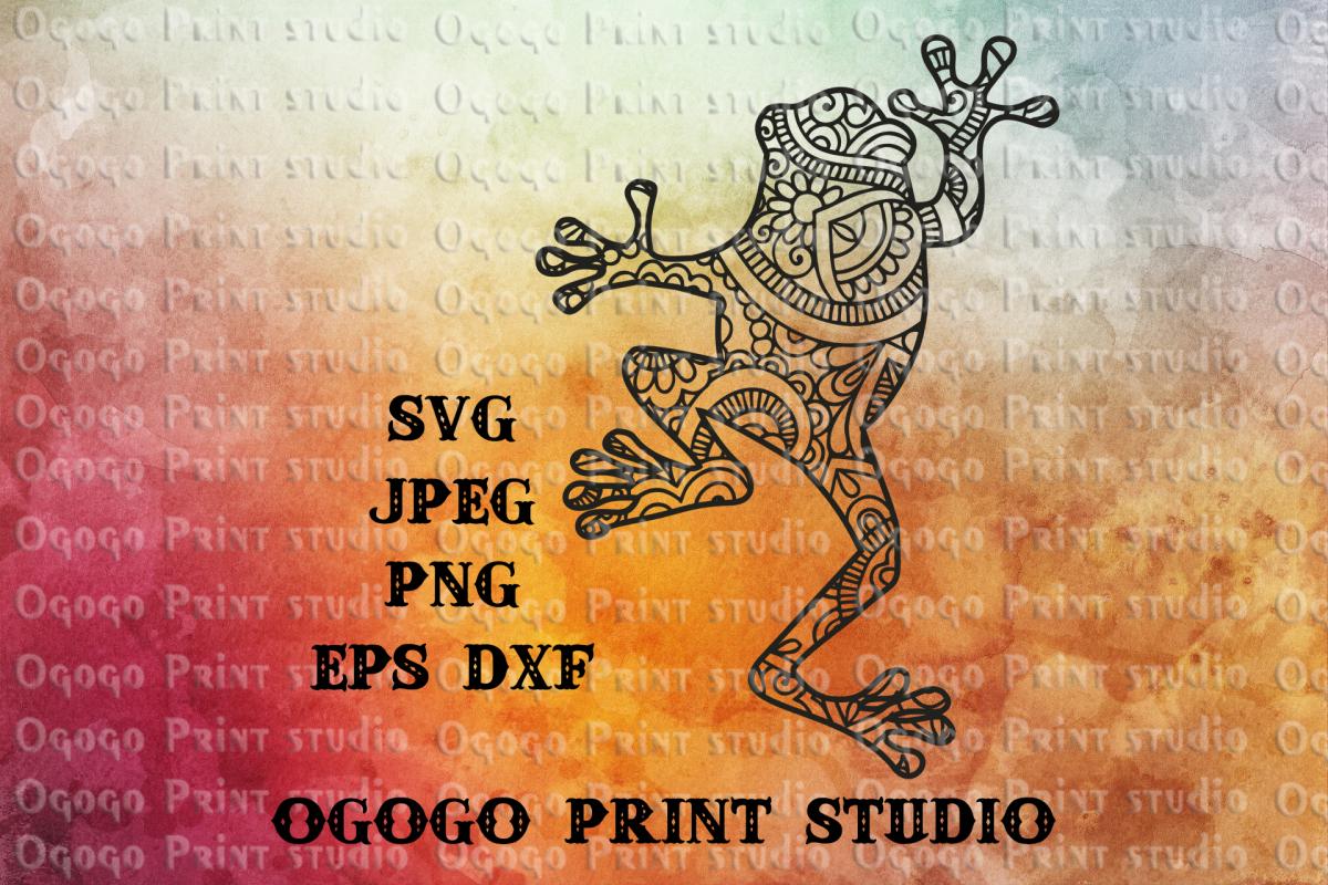 Mandala style Frog SVG, Zentangle Svg, Toad svg, Reptile svg example image 1