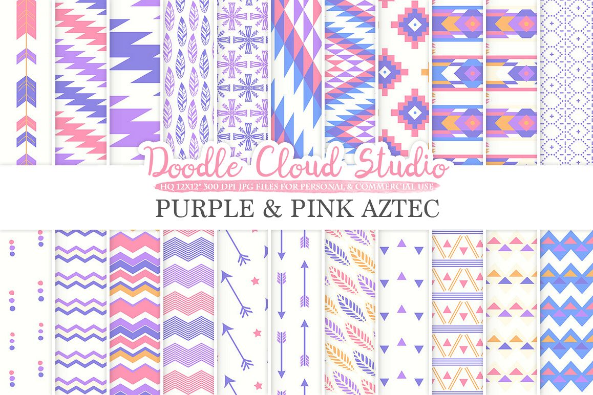 Purple and Pink Aztec digital paper Orange Tribal patterns native triangles geometric ethnic arrows backgrounds Personal & Commercial Use example image 1