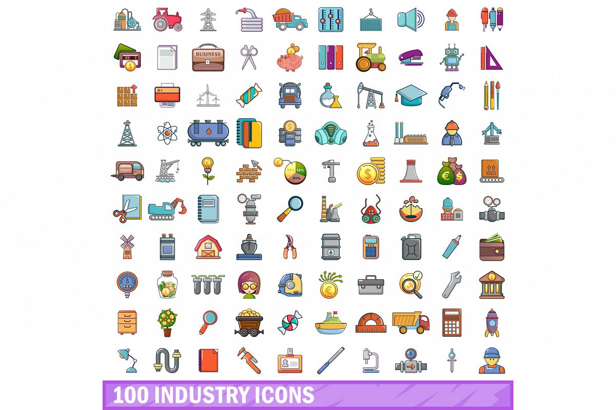 100 industry icons set, cartoon style example image 1