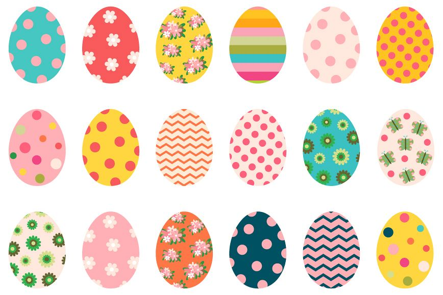 Colorful cute Easter eggs clipart set