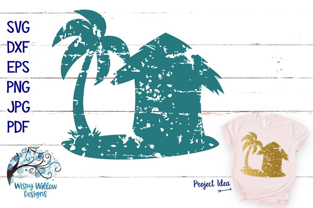 Distressed Beach Hut SVG | Grunge | Summer SVG Cut File example image 1