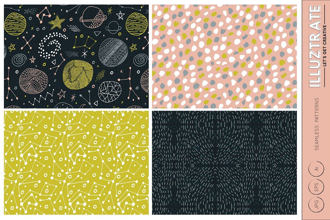 Space Patterns, Space Vector Pattern, Space Digital Paper example image 1