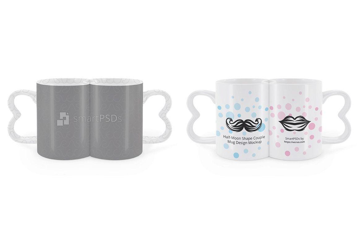 Half Moon Shape Couple Coffee Mugs Design Mockup example image 1