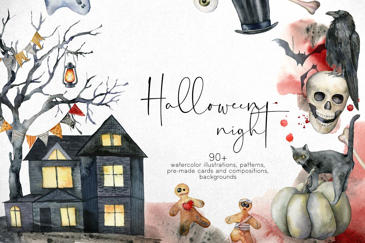 Halloween night. Watercolor clip art example image 1
