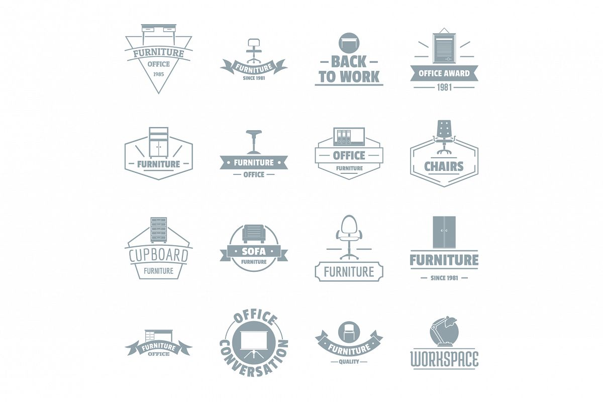 Office furniture logo icons set, simple style example image 1