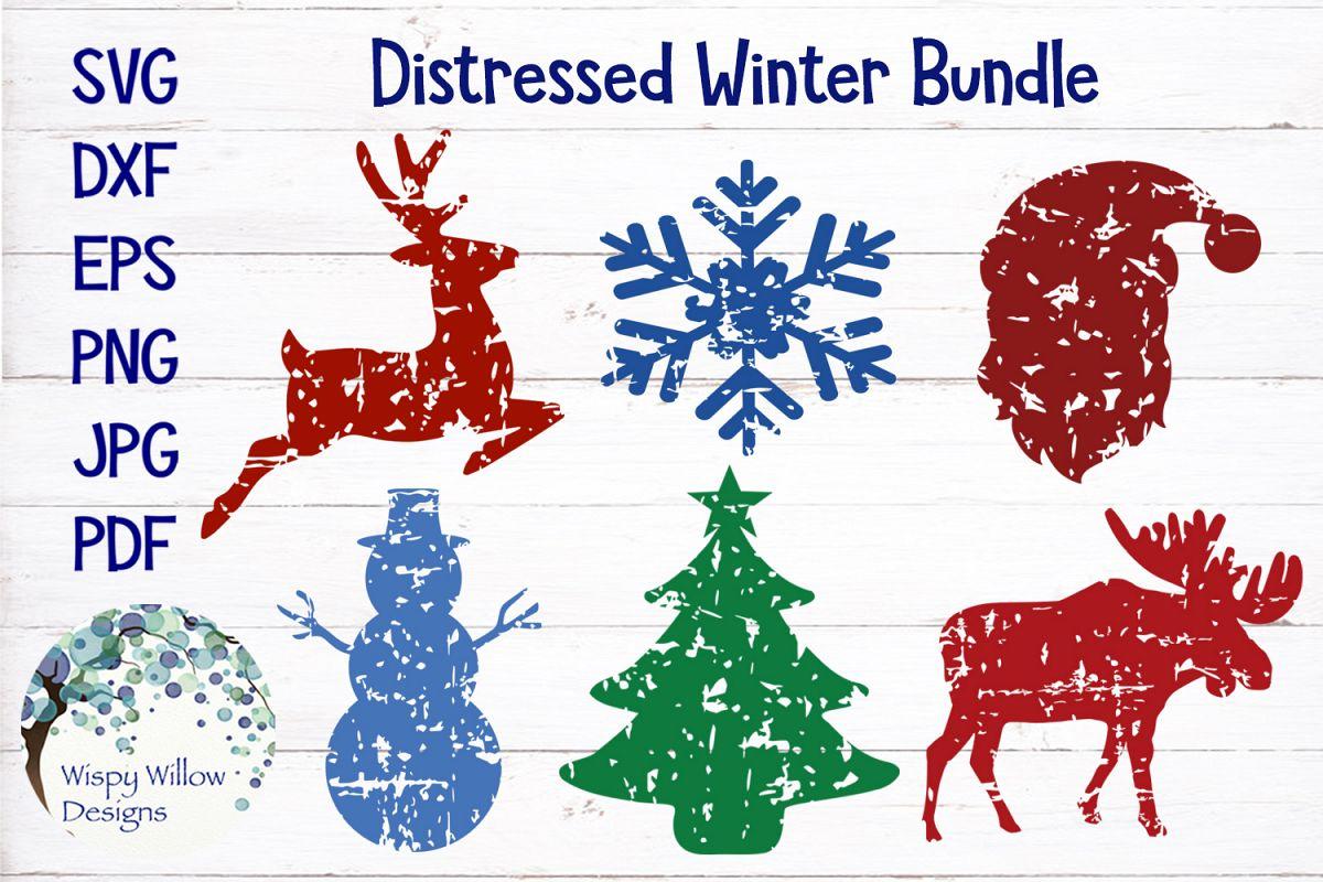 Distressed Grunge Winter SVG Bundle | Christmas SVG Bundle example image 1
