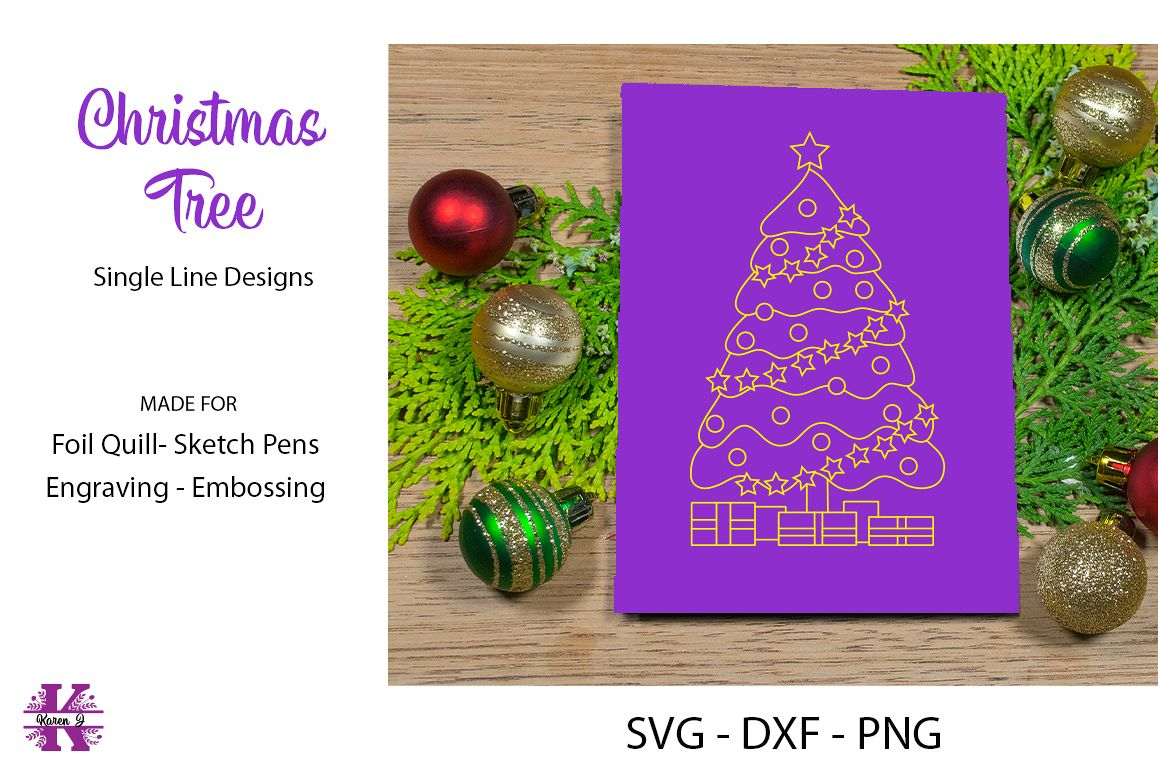 Christmas Tree SVG for Foil Quill|Sketch Pen|Engraving example image 1