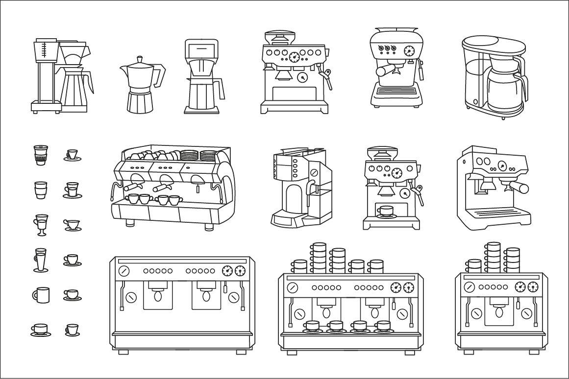 Coffee Machine Set On White Background Diagram Example Image 1