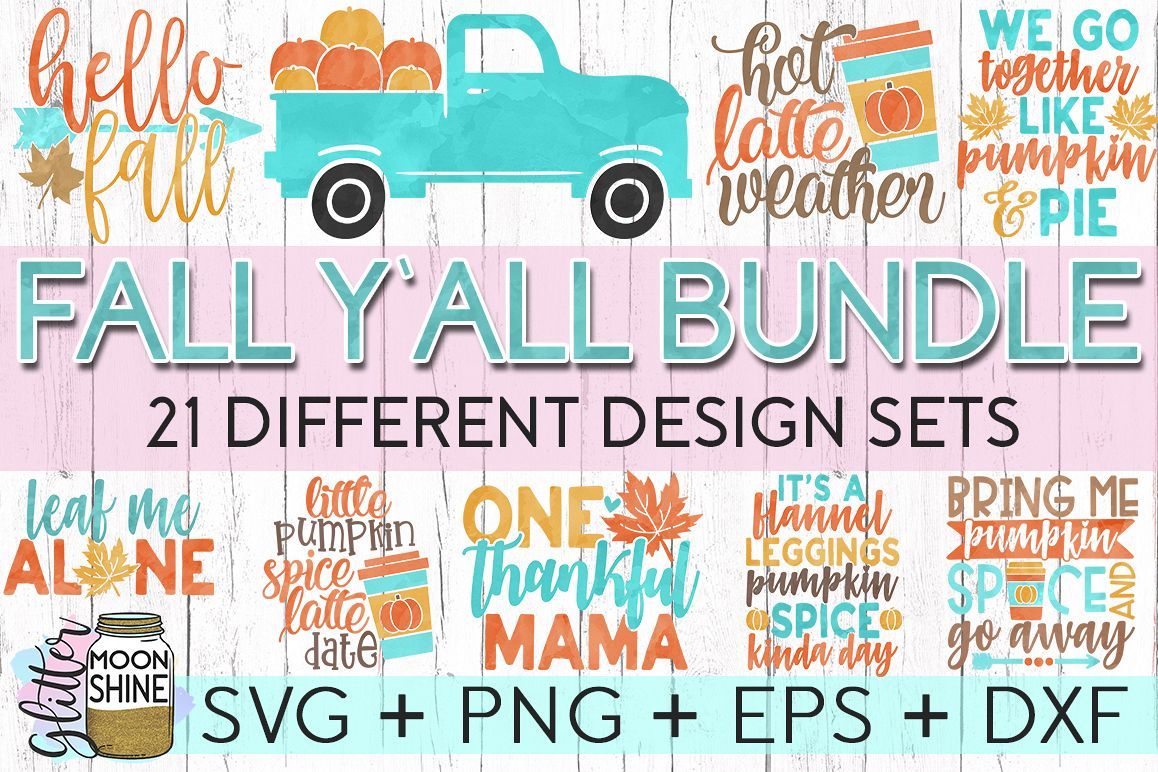 Fall Y'all Bundle of 21 SVG DXF PNG EPS Cutting Files example image 1