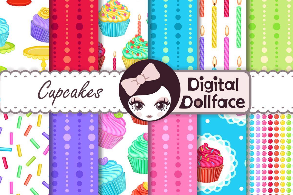 Cupcake Scrapbook Patterns / Rainbow Treats Digital Paper example image 1