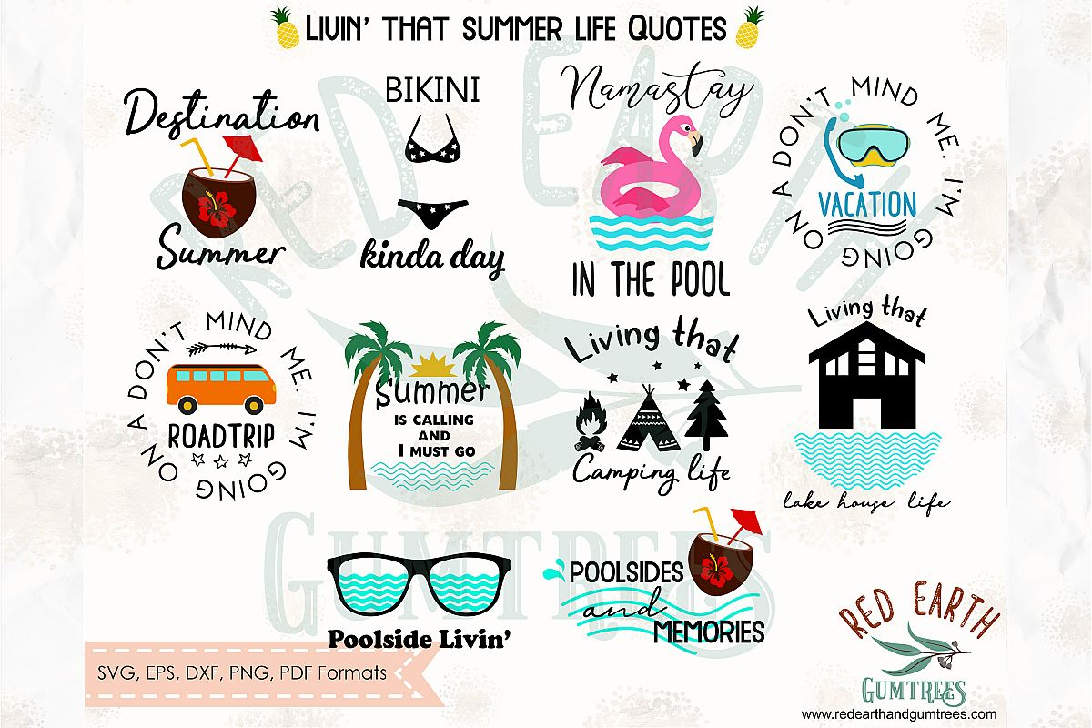 Summer quotes bundle, camping quote,Pool SVG,DXF,PNG,EPS,PDF example image 1