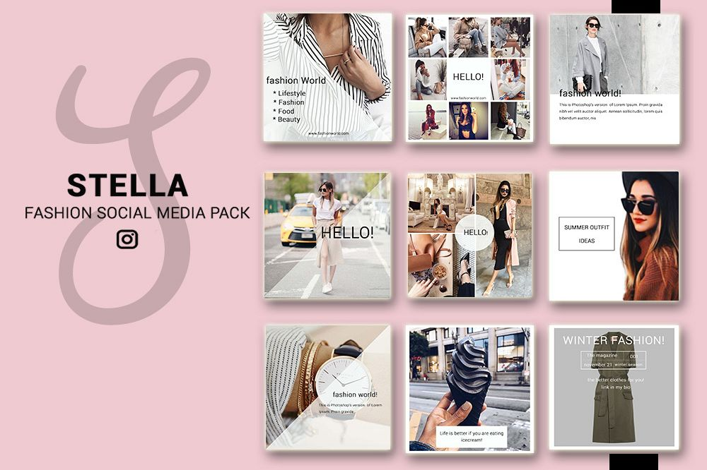 Fashion Social Media Pack Bundle 20 Square Templates Instagram