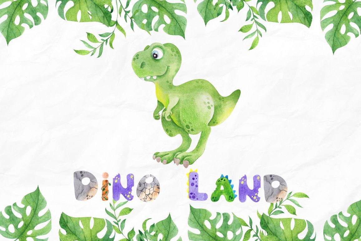 DinoLand. Cute Watercolor set example image 1