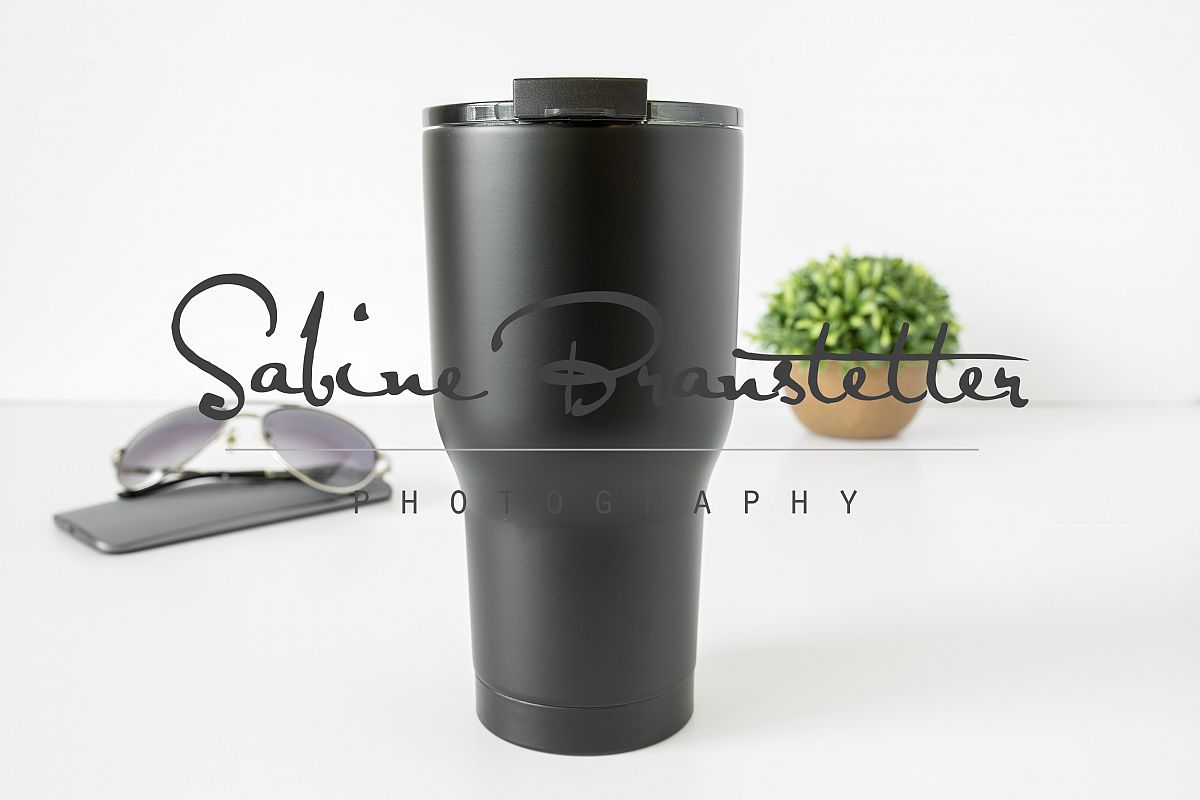 Styled Stock Photography Lare Black Tumbler Mockup example image 1