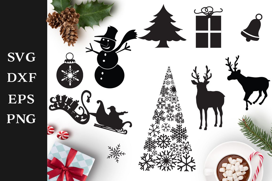 Christmas Shapes.Christmas Shapes Svg Cut Files Pack