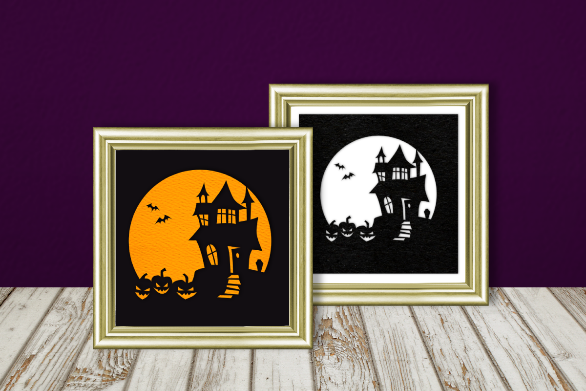 Halloween Haunted House Silhouette SVG Design example image 1