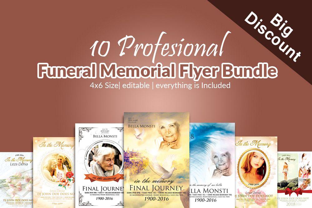 10 memory funeral program flyers bundle0