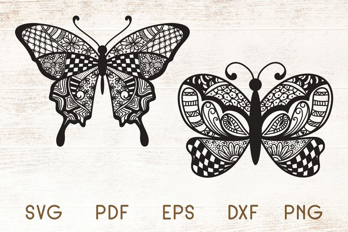 Butterfly Zentangle - Doodle Art SVG example image 1