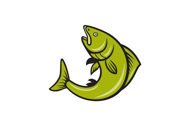 Trout Fish Jumping Cartoon example image 1
