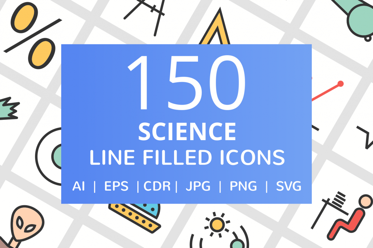 150 Science Filled Line Icons example image 1