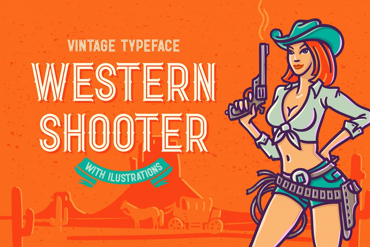 Western Shooter font with bonus example image 1