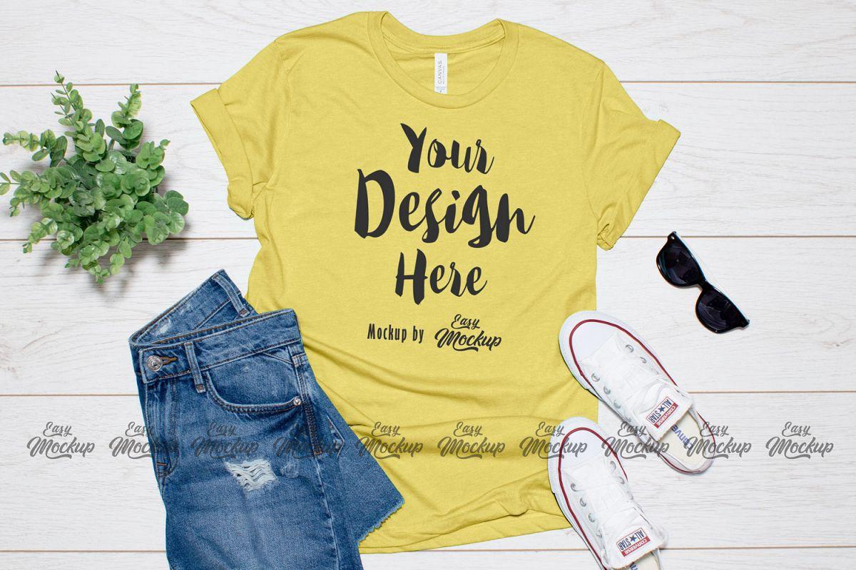 Heather Yellow Gold Bella Canvas 3001 T Shirt Mockup example image 1