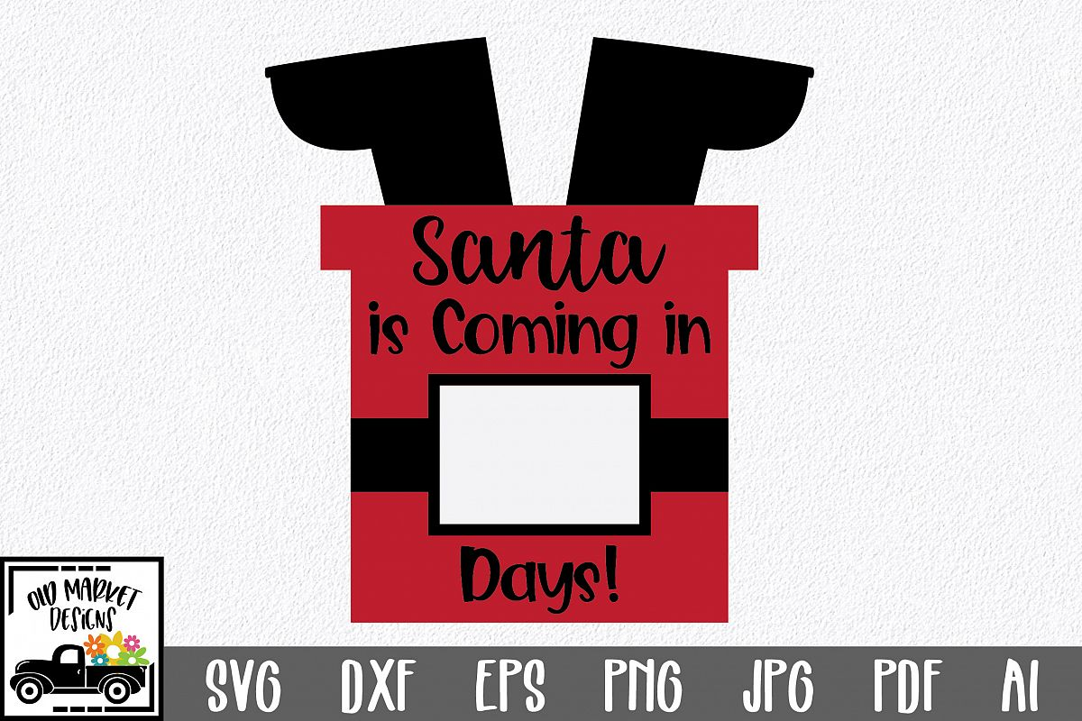 Christmas Countdown SVG Cut File - Santa in Chimney SVG DXF example image 1