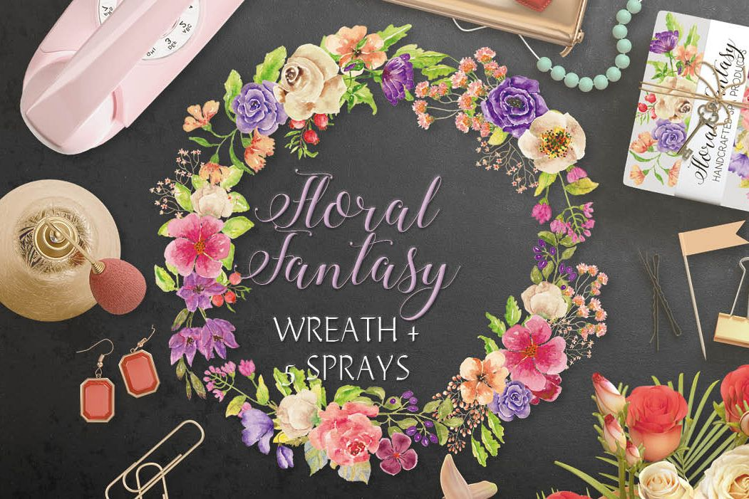 Watercolor wreath of mixed flowers example image 1