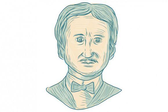 Edgar Allan Poe Writer Drawing example image 1