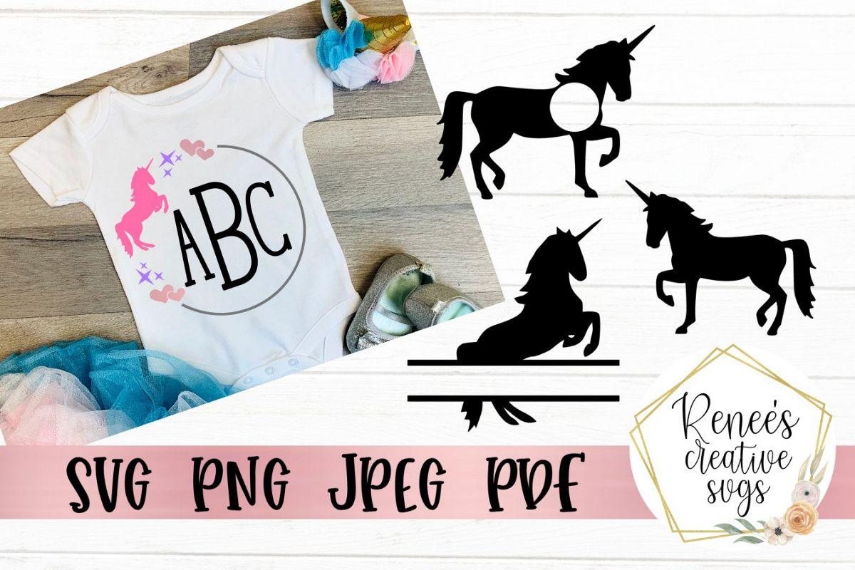 Unicorn Monogram Set | Unicorns | SVG Cutting File example image 1