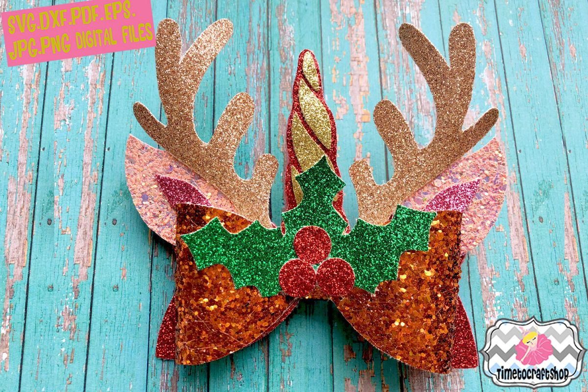 christmas unicorn reindeer antler ears hair bow template