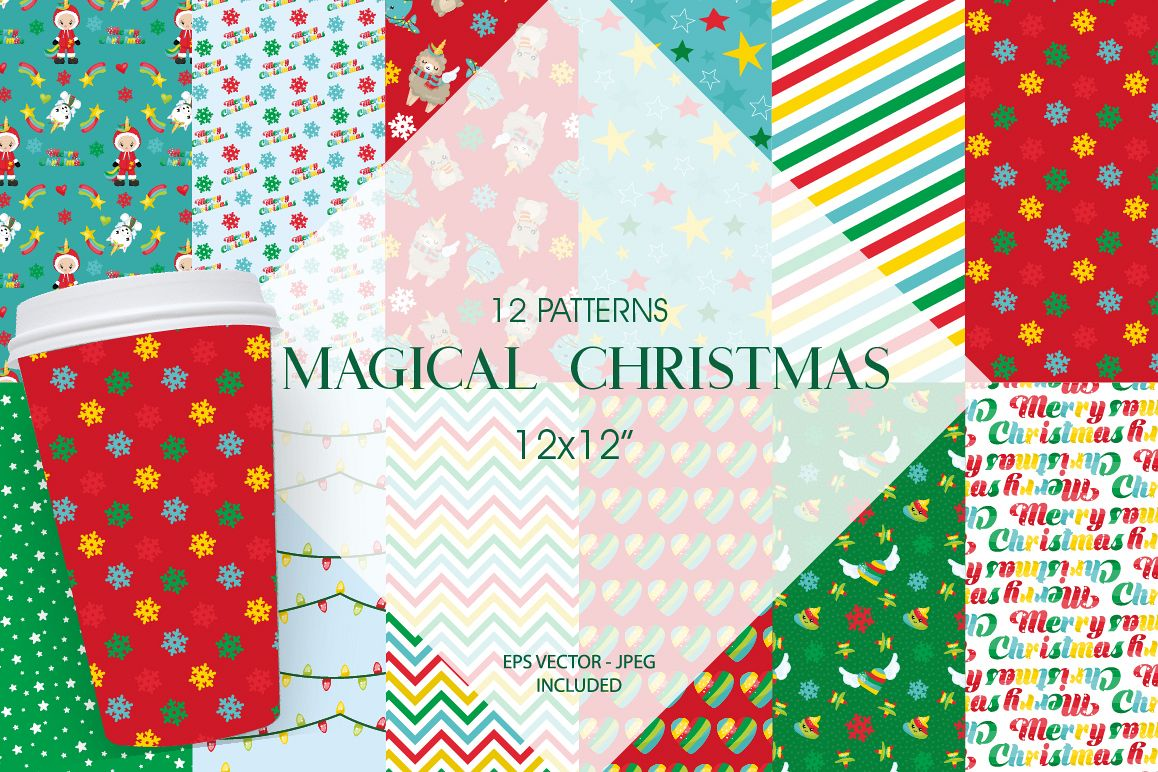Christmas Magical Pattern collection, vector ai, example image 1