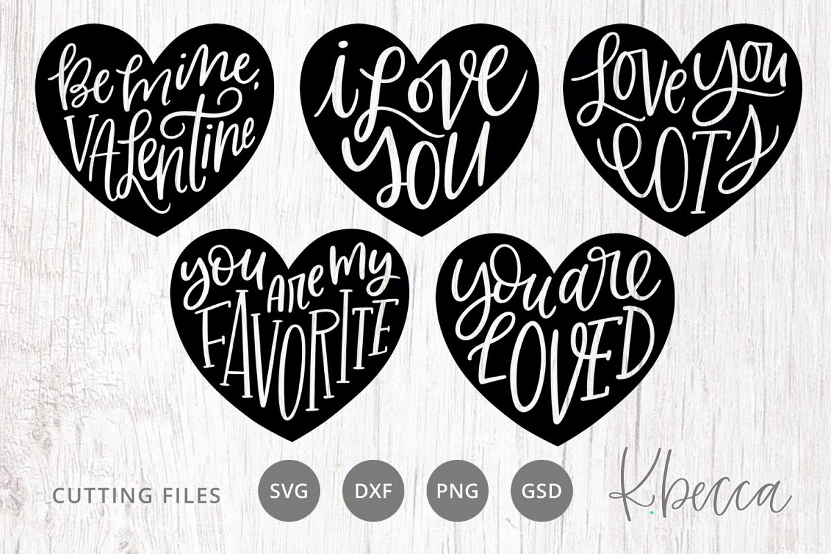 Hand Lettered Hearts Bundle SVG Cut Files example image 1