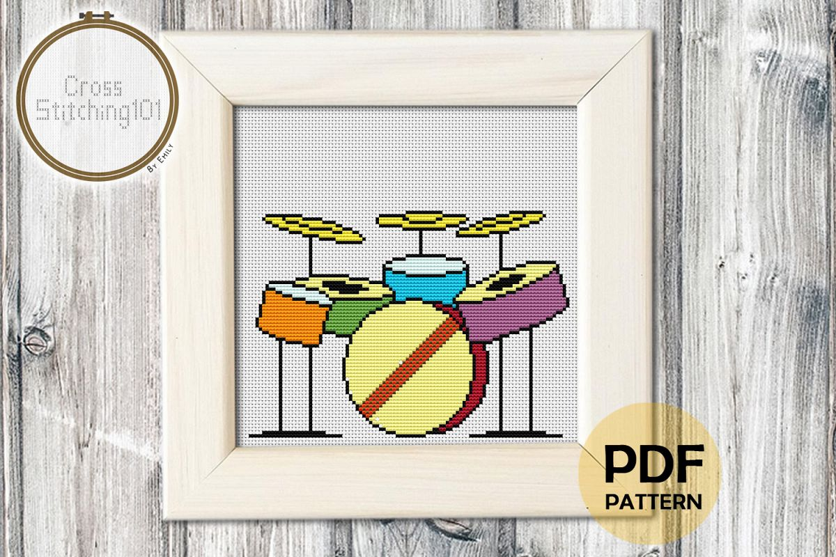 Drums Modern Cross Stitch Pattern- Instant Download PDF example image 1