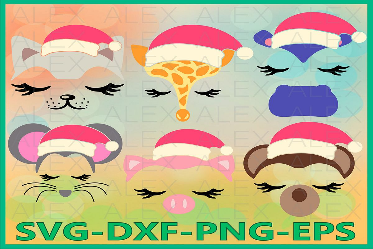 Animal Christmas SVG, Animal Face Svg, Girls Face svg example image 1