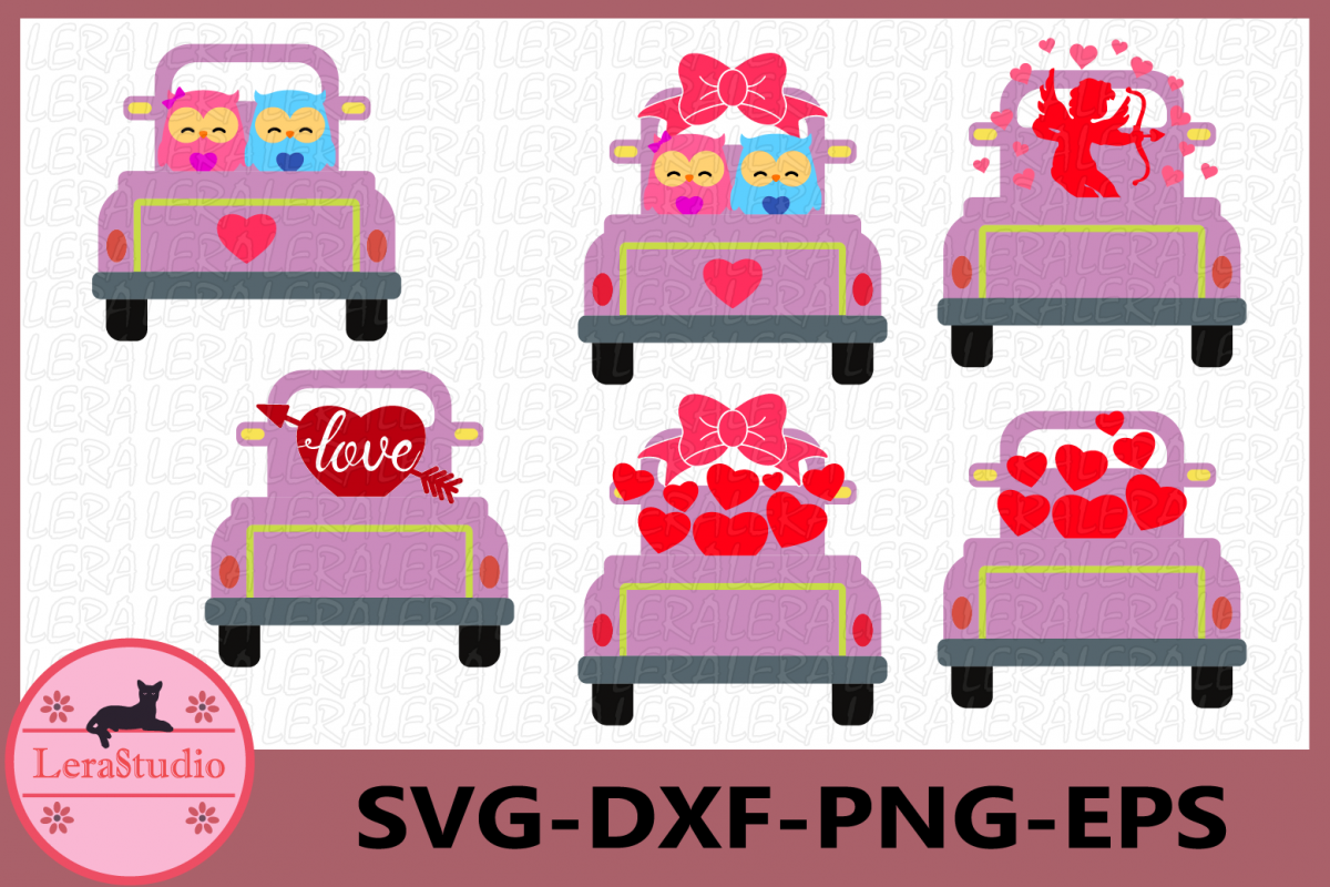 Valentines Owl Love Svg, Truck Svg, Valentines vintage Truck example image 1
