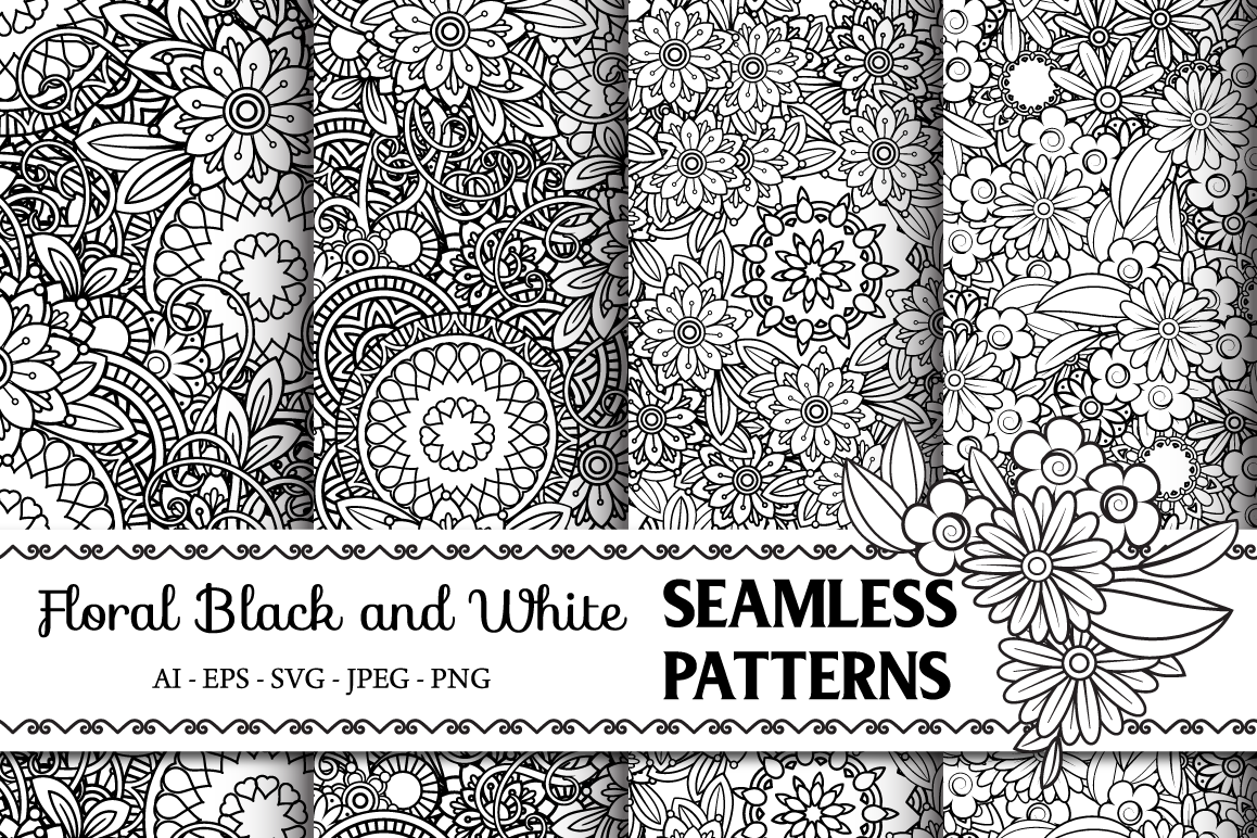 Floral Seamless Patterns example image 1