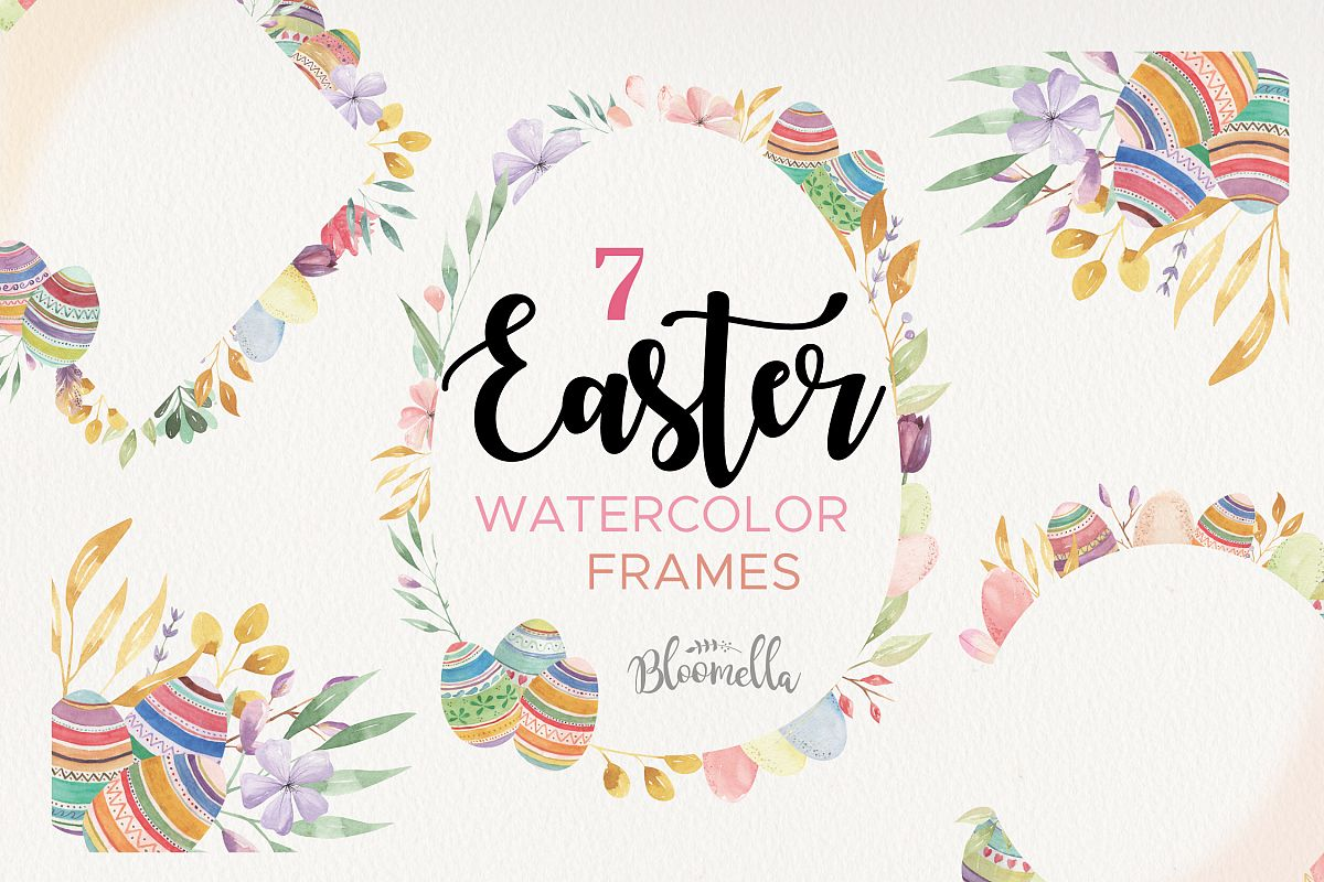 Easter Eggs Frames Watercolor Spring Flowers Pastels Border example image 1