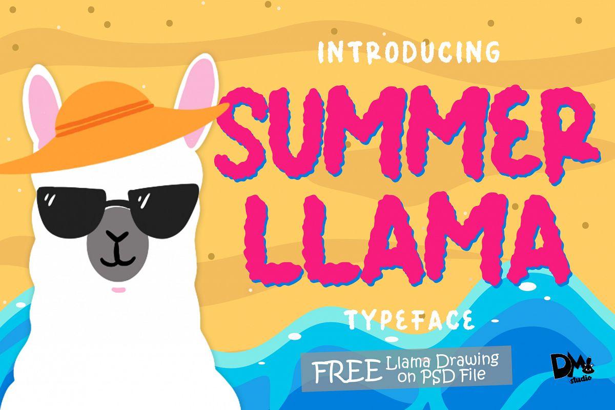 Summer Llama Typeface - Extra Drawing Llama example image 1