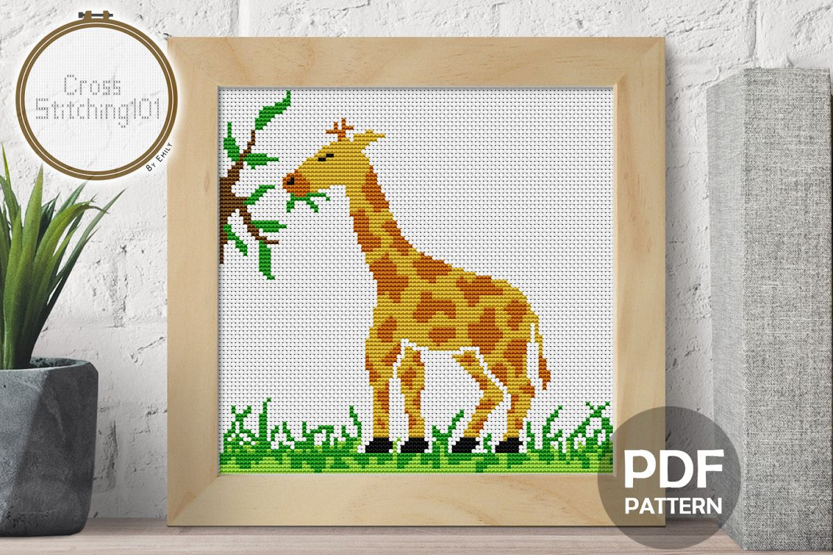 Giraffe Eating Cross Stitch Pattern- Instant Download PDF example image 1