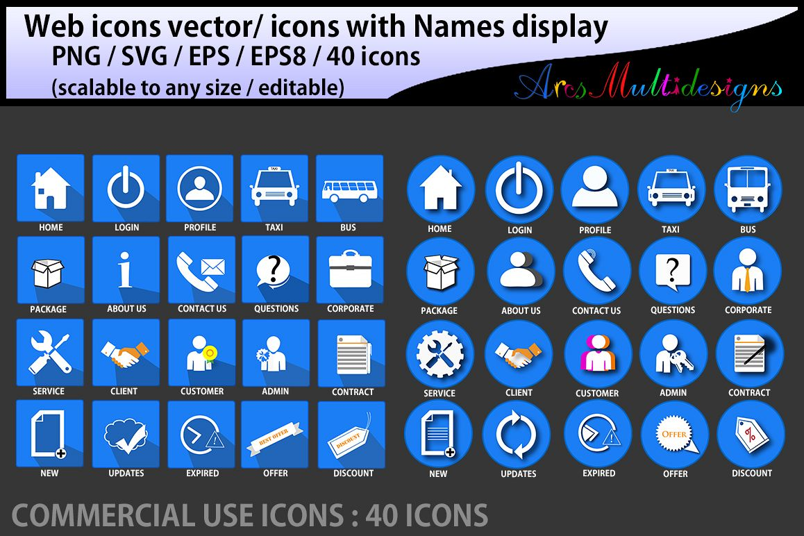 web icons vector / commercial use / SVG / png/ icons with name / vector icons / web cool icons / home icon example image 1