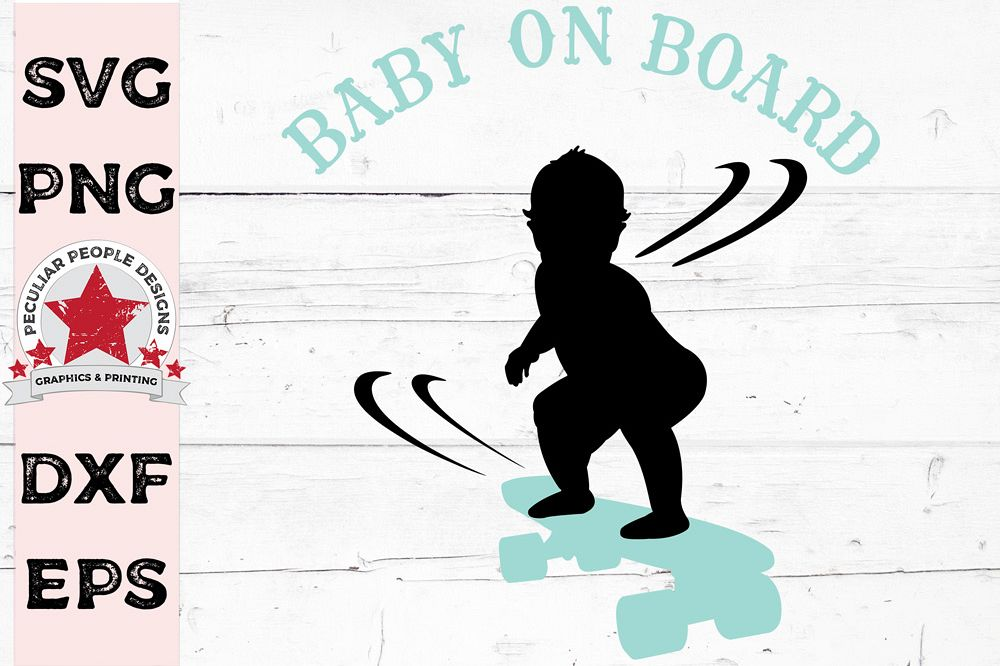 Baby On Board Skateboarding Car Decal SVG cutting file example image 1