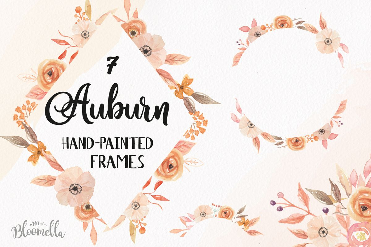 Autumn Frames Watercolor Clipart Border Flowers Fall Florals Example Image